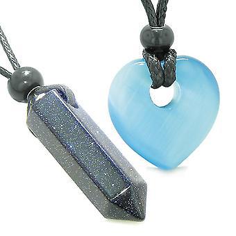 Yin Yang Crystal punkt hjertet Donut kjærlighet par Goldstone blå simulert katter øye Amulet halskjeder