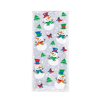 20 Cellophane Party Bags - Christmas Snowmen | Christmas Party Loot Bags