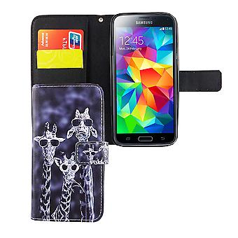 Mobile phone case pouch for mobile Samsung Galaxy S5 / S5 neo 3 giraffes