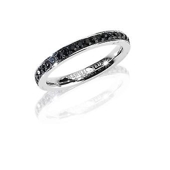 MANUEL ZED - Stainless Steel Rhinestone Ring Band - Black - G2064 0005 16