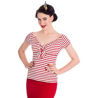 Hell Bunny Red & White Dolly Top L