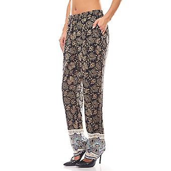 sheego casual Oriental look black stretch trousers