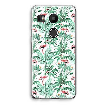 LG Nexus 5X Transparent Case - Flamingo leaves