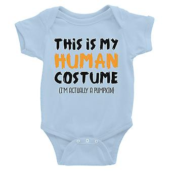 Human Costume Pumpkin Baby Bodysuit Gift Sky Blue