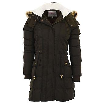 Ladies Faux Fur Wool Lined Hooded Quilted Bomber Winter Women's Parka Coat