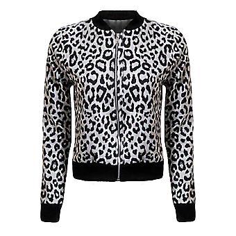 Дамы новый леопарда печати коротких женщин Zip бомбардировщик куртка