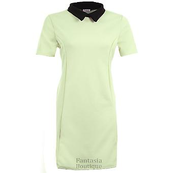 Ladies Short Sleeve Plain Peter Pan Collar Contrast Bodycon Plus Women's Dress