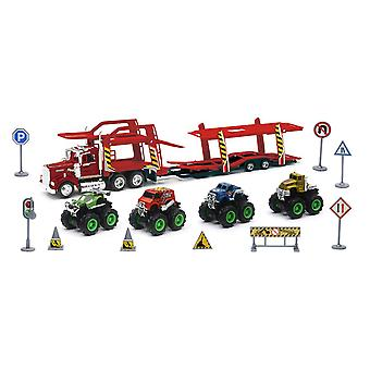 1/43 D/C Set Kenworth Auto Träger mit Monstertruck