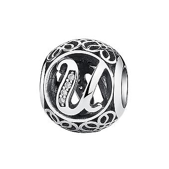 Sterling silver charm with zirconia stones letter U