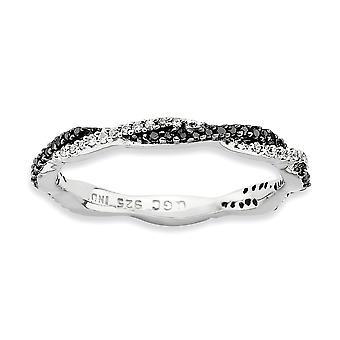 2,25 mm Sterling Silver stift uppsättning rodium-plated stapelbar uttryck polerad svart vit diamantring - Ring storlek: 5 t