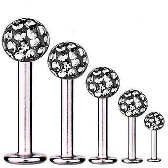 Labret Bar Tragus Piercing titanio 1, 2 mm, múltiples bolas de cristal negro diamante