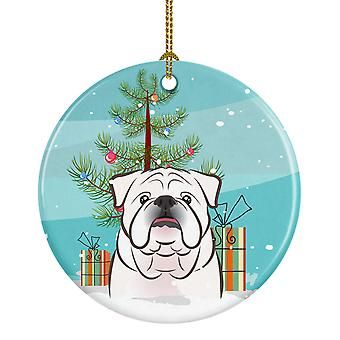 Christmas Tree and White English Bulldog  Ceramic Ornament