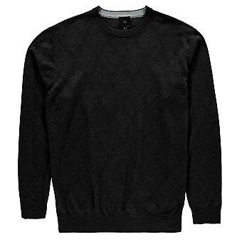 Fusion Mens getextureerde bemanning hals Jumper trui Pullover lange mouw Print
