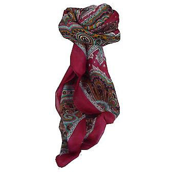 Mulberry Silk Traditional Square Scarf Aylin Carmine by Pashmina & Silk