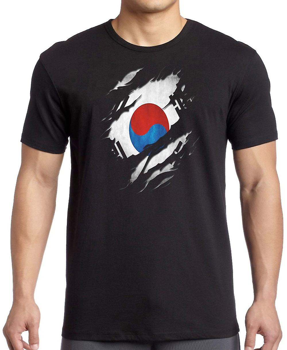 South Korean Grunge Flag Ripped Effect T Shirt  - 3xl