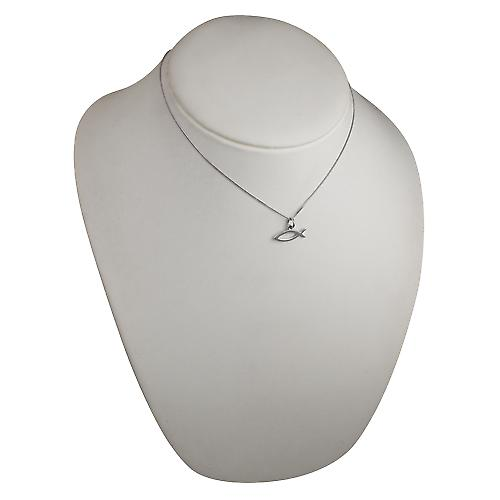 9ct White Gold 7x20mm Christian Fish symbol Pendant with a curb Chain 16 inches Only Suitable for Children