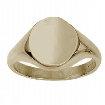 9ct goud 14x12mm solide vlakte ovale Signet Ring grootte W