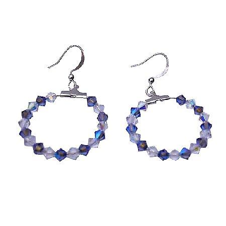 Sapphire Swarovski Crystal AB Crystal Sterling Silver Hoop Earrings
