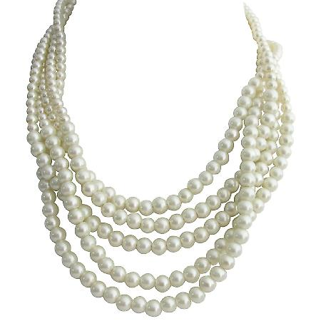 Ivory Pearl 5 Strand Necklace Twisted Vintage 1960s Design