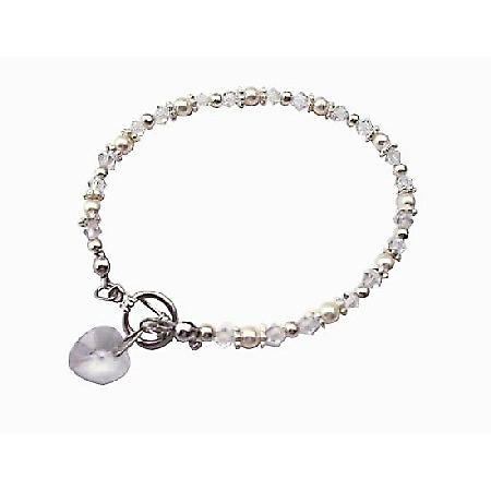 Heart Charm Swarovski Clear Irridscent Crystal w/ White Pearls And Bali Silver Bridal Flower Girl Bridemaids Bracelet