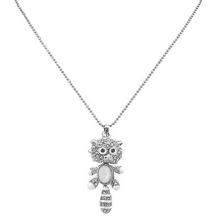 Animal Pendant Necklace Jewelry Adorable w/ Stripes Tail Cat Pendant
