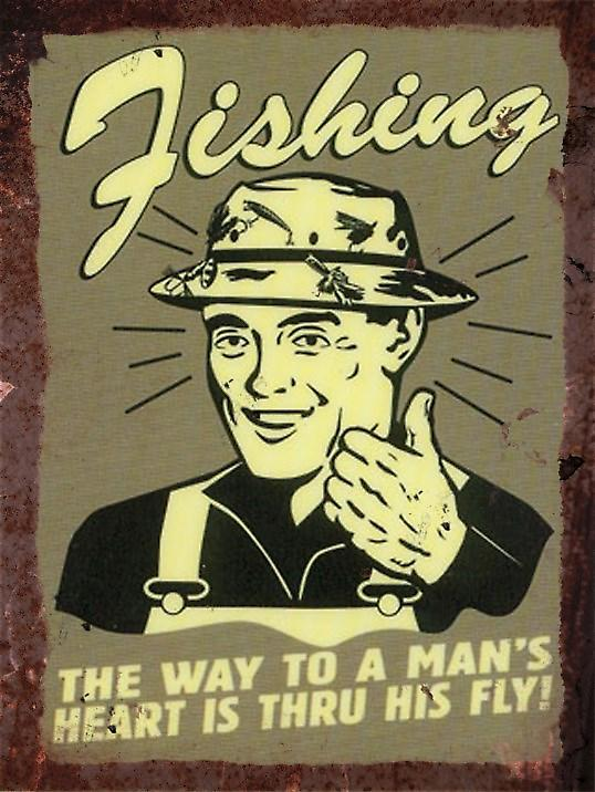 Vintage Metal Wall Sign - Fishing way to a mans heart