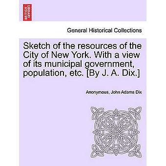Skisse av ressursene i byen New York. Med utsikt over kommunestyret befolkningen osv. Ved J. A. Dix. av anonym