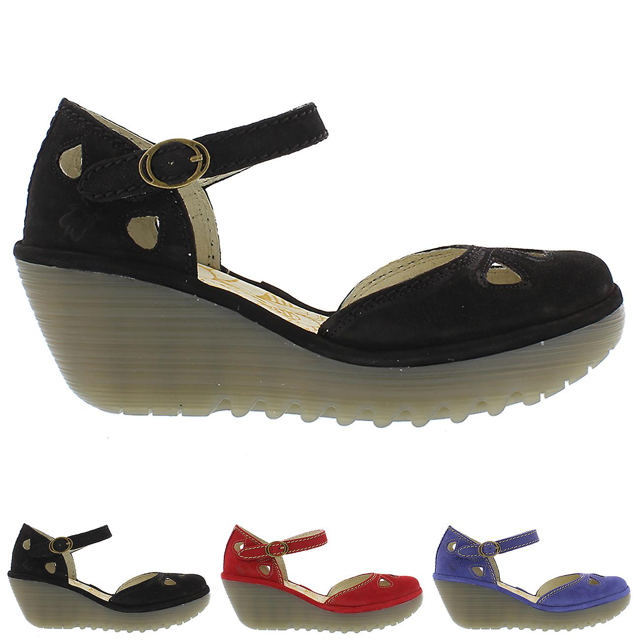 Femmes Fly London Yuna Cupido talon compensé fermeture cheville Strap chaussures