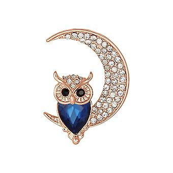 Eternal Collection Owl On The Moon Rose Gold Tone Crystal Brooch