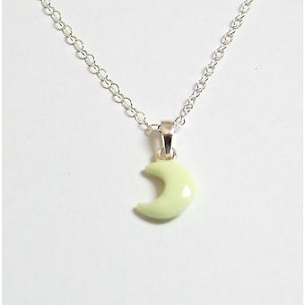 Jo For Girls Sterling Silver Glow In The Dark Moon Pendant Necklace 14