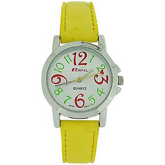 Ravel Ladies - Girls Silver Dial & Yellow PU Buckle Strap Watch R0126.09.2