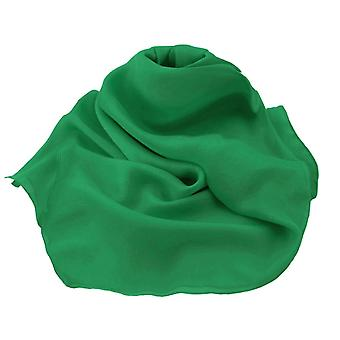Eternal Collection Plain Emerald Green Oblong Pure Silk Chiffon Scarf