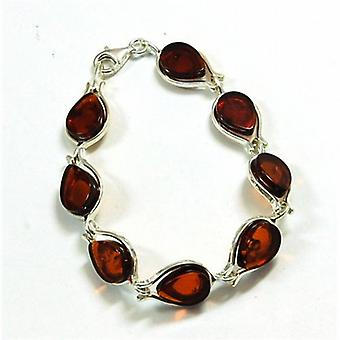 The Olivia Collection Sterling Silver Fancy Tear Drop Links Amber Bracelet