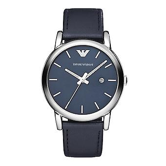 Emporio Armani Ar1731 Classic Blue Dial Black Leather Men's Watch