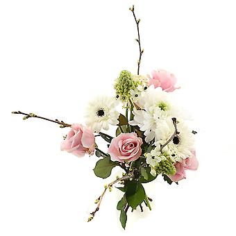 Bunch of Flowers Touchy, white/pink | Height: 60 cm