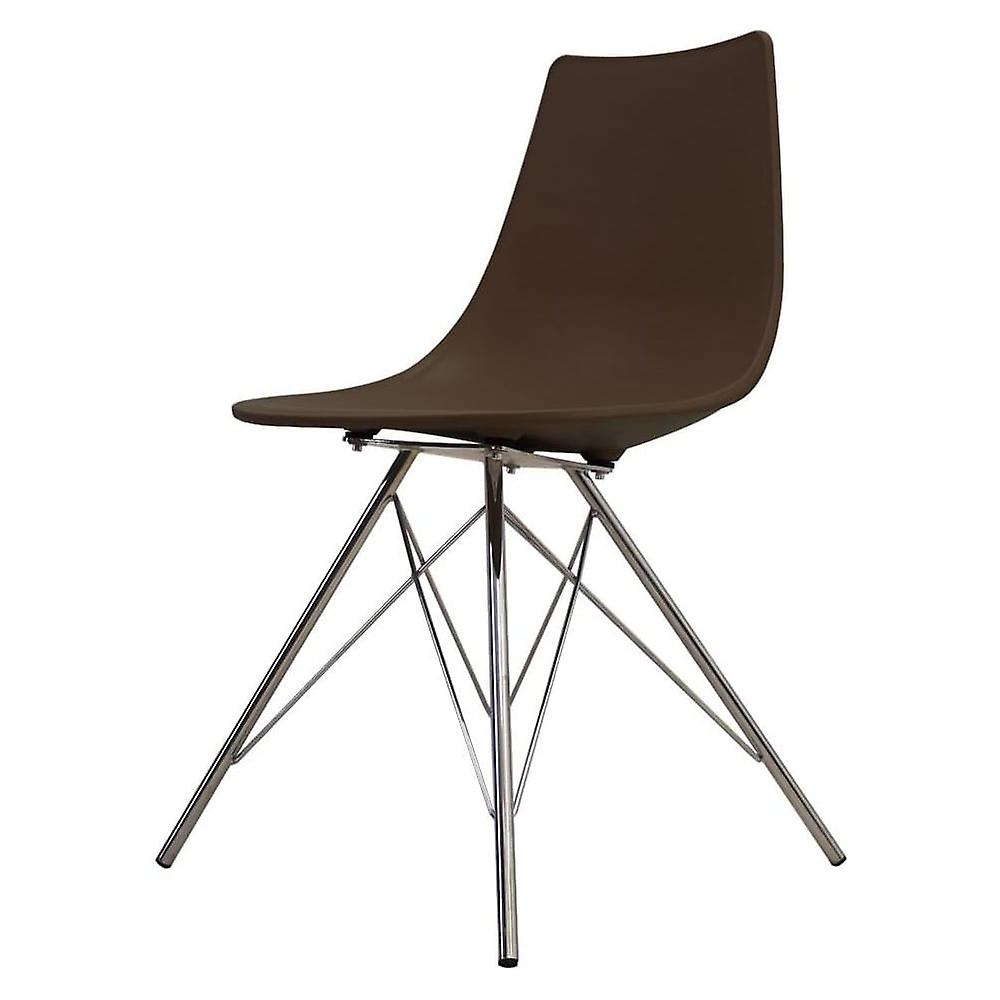 Fusion Living Iconic Coffee Plastic Dining Chair With Chrome Metal Legs