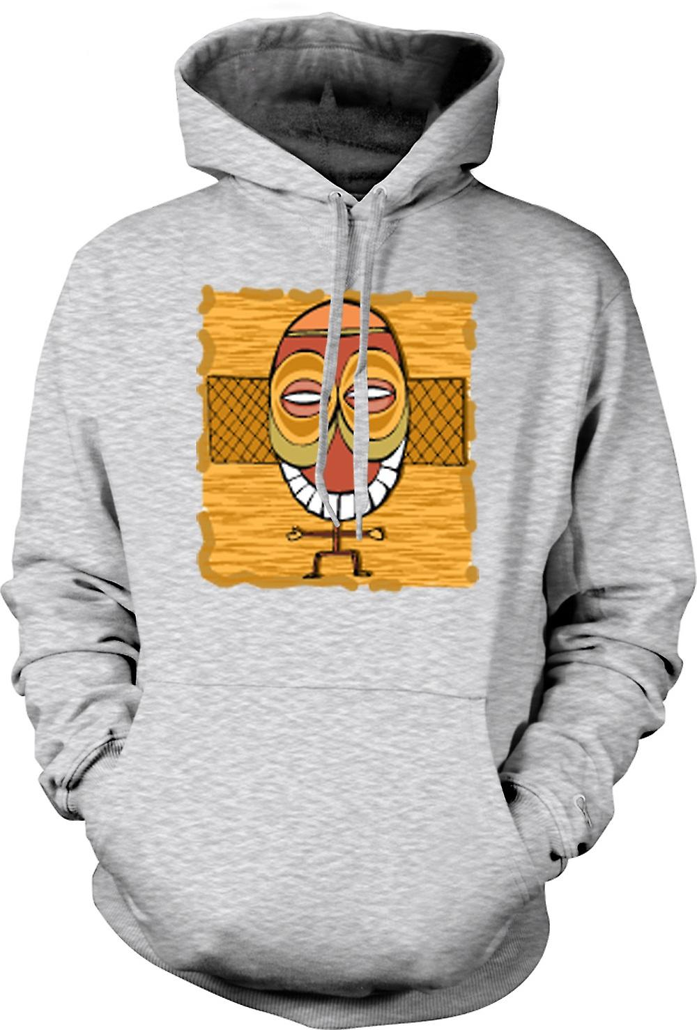 Mens Hoodie - Zulu Tribal Mask Drawing