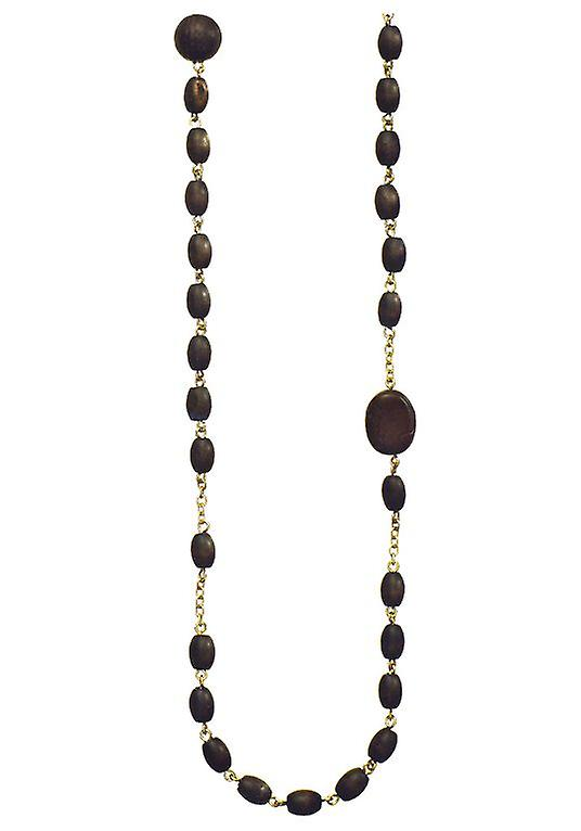 Le pèlerin Damenkette : or noir/mat de perles en bois (387031)