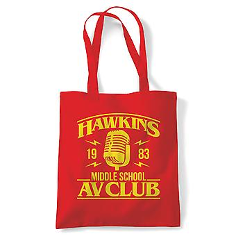 Hawkins Middle School AV Club Tote - France Action Adventure Horreur Sci-Fi Series Binge Halloween (fr) Stranger Things Hawkins Upside Down DND 80s Small Town Summer (fr) Sac de coton réutilisable