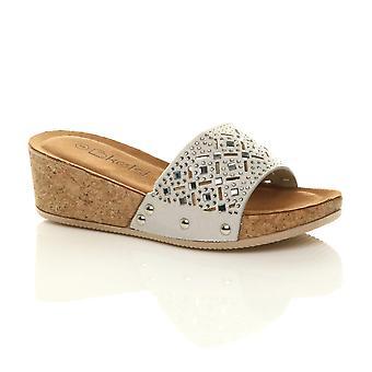 Ajvani Donne mid cuneo cuneo borchiato di sughero diamante scivolare su sandali mulo piattaforma
