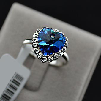 18K White Gold Plated Aquamarine Heart of Ocean Ring