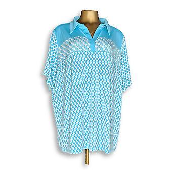 Susan Graver Women's Plus Top Stampato Liquido Maglia Polo Blu A289411