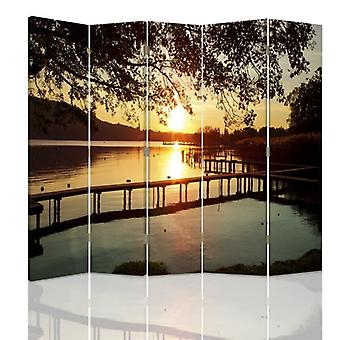 Room Divider, 5 Panels, Double-Sided, 360 ° Rotatable, Canvas, Sunset Over The River
