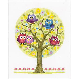 Little Owls Tree On Aida Counted Cross Stitch Kit-9