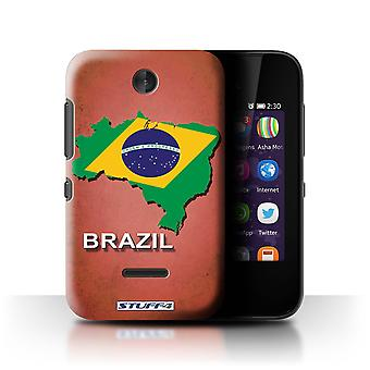 STUFF4 Case/Cover for Nokia Asha 230/Brazil/Brazilian/Flag Nations