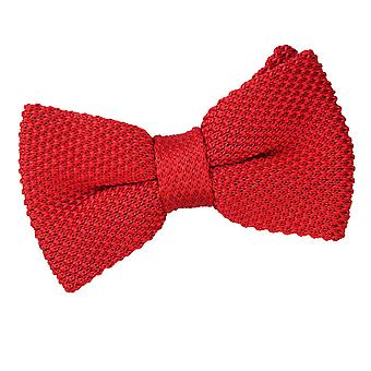 Crimson Red Knitted Bow Tie