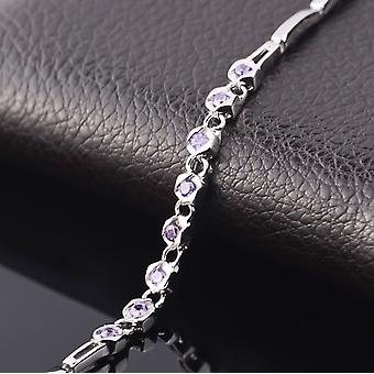 Affici Sterling Silver Tennis Bracelet 18ct White Gold Plated with Amethyst CZ Gems