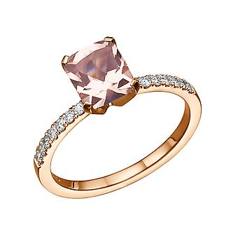2.14 CTW natural peach/pink VS Morganite Ring with Diamonds 14k Rose Gold Emerald Classic Vintage