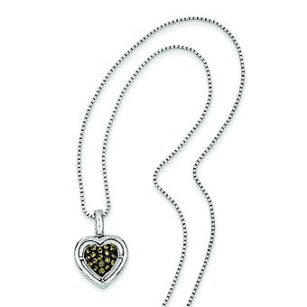 Sterling Silver Champagne diamant pendentif coeur -.25 dwt