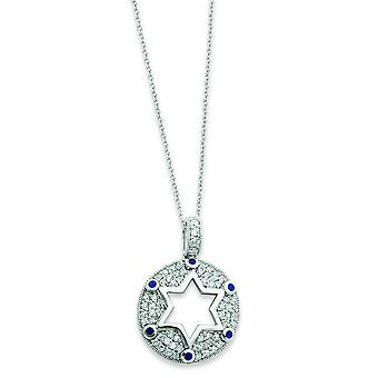 Sterling Star of David Blue Clear Cubic Zirconia Necklace - 18 Inch